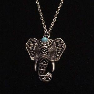 Silver Tone Elephant Necklace